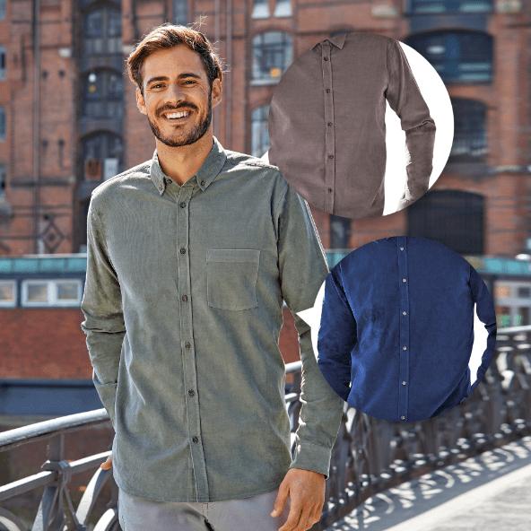 STRAIGHT UP® Camisa de Veludo para Homem