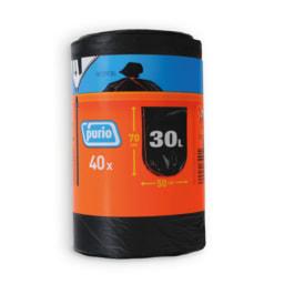 PURIO® Sacos para Lixo com Atilho 30 L