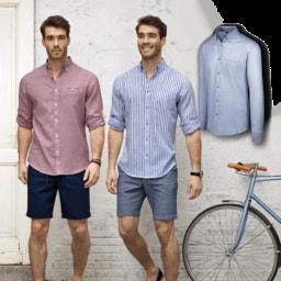 STRAIGHT UP® Camisa de Linho e Algodão