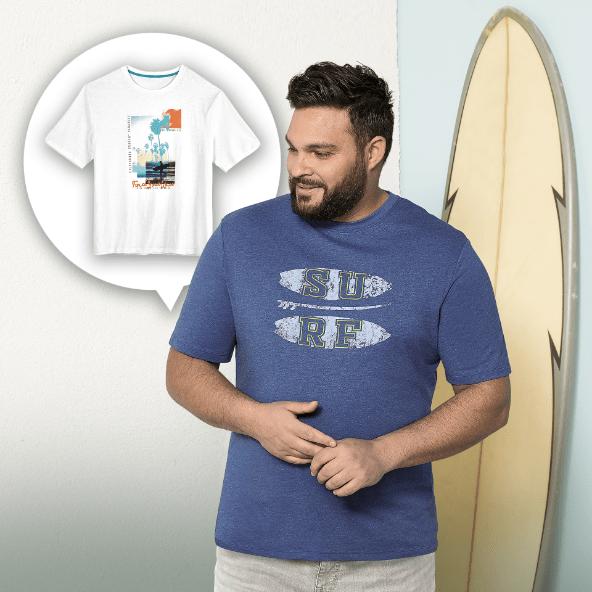 STRAIGHT UP® T-shirt para Homem, Tamanho Grande