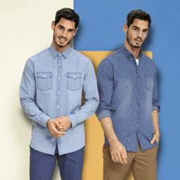 STRAIGHT UP® Camisa de Ganga para Homem